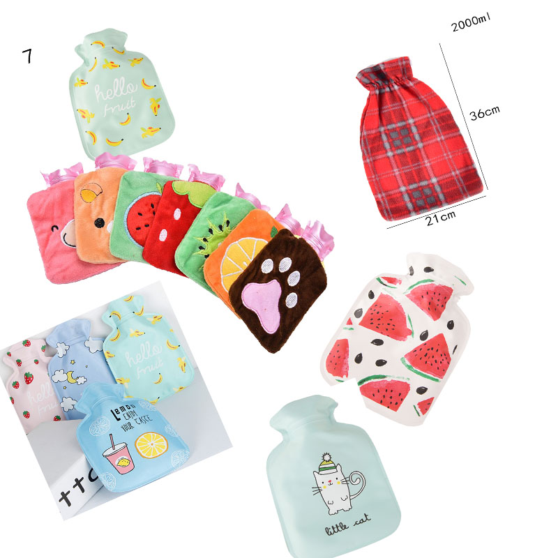 1pc Hot Water Bottle Hot-water Bag Hand Feet Warming Plush Warm Relaxing Heat Cold Outdoor Home Handbags Cartoon Rubber Household Appliances