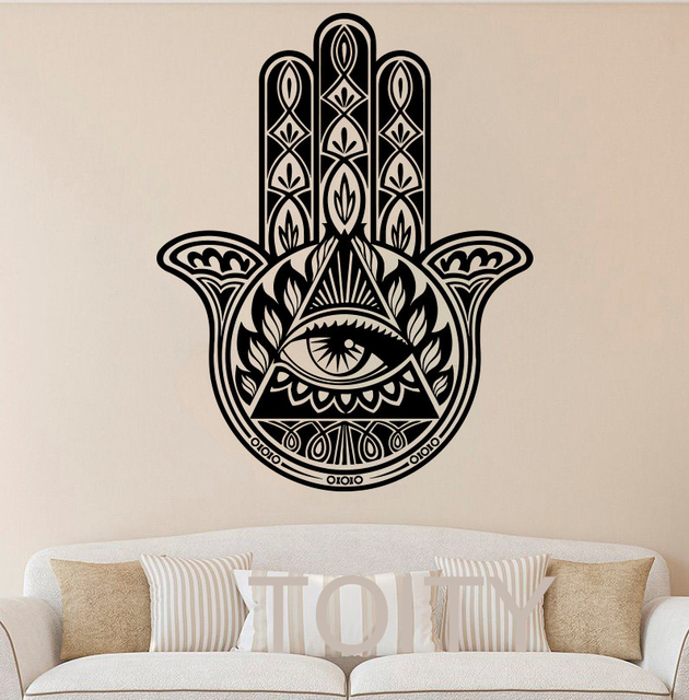 52dab6586a Hamsa Hand Wall Stickers Yoga Vibes Fatima Vinyl Decals Indian Buddha  Ganesh Decor Home Bedroom Interior Design Art Mural