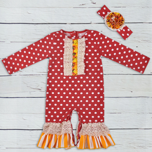 2018 New Child Rompers Cotton Jumpsuit With Button wholesale Fall Toddler Rompers Knitted Ruffle Dot New child GPF806-177