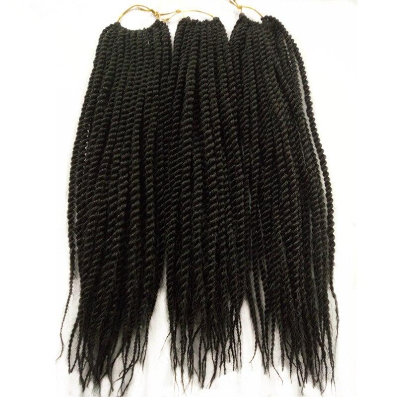 "3Pack 12"" 18"" Natural Black Micro Senegalese Twist Crochet Braids Hair 30Root Pervado Hair Synthetic Braiding Hair Extensions"