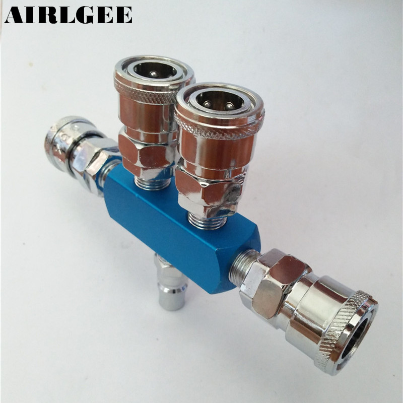 Metal Air Hose 4 Way Pass Cinnecting Quick Coupler Connect Socket three way air pass quick coupler connector navy blue