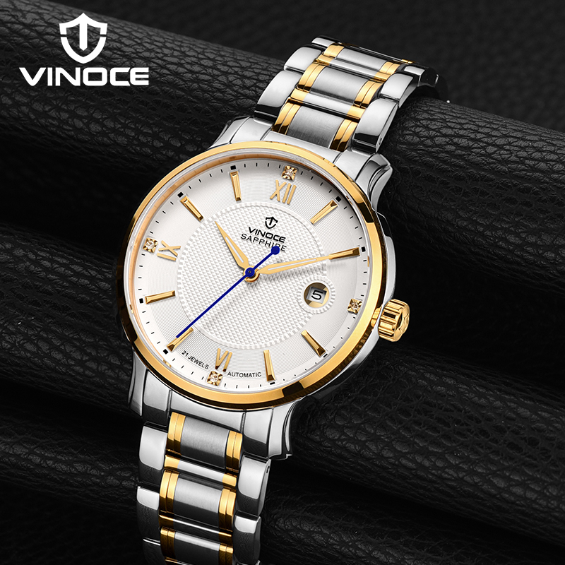 VINOCE Mechanical Watches 2017 New Stainless Steel Band Men Watches Top Brand Luxury Round Dial Relogio Masculino #V338N.002C weide popular brand new fashion digital led watch men waterproof sport watches man white dial stainless steel relogio masculino