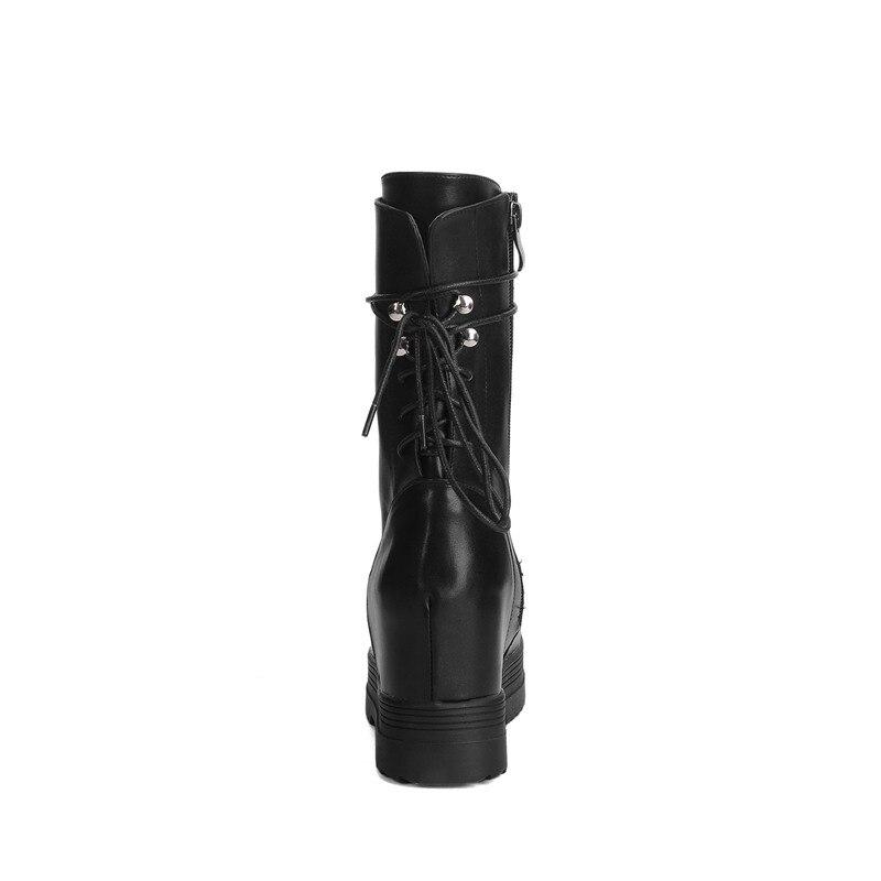 À Bottes Plate Wedge mollet Mi Suede Lacets Haute Augmenter 2017 Odetina Nouvelles forme Épais Pu Suede Talons Blakc Zip Femmes Faux Mode Noir black De wHZqUv