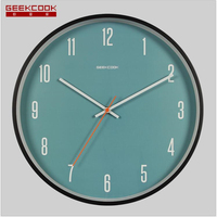 Geekcook Simple Nordic Metal Paint Curved Wood Frame Creative Home Wall Clocks Digital Clock Wall Wall Clock Modern Design