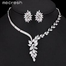 Mecresh Top Cubic Zirconia Joyería Nupcial de Plata Color de La Flor Conjuntos Collar Pendientes Accesorios de Boda TL335