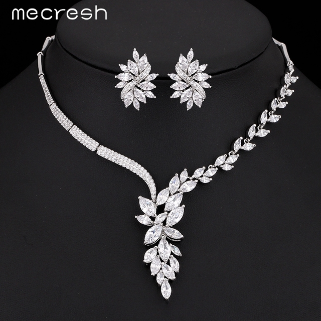 Mecresh Top Cubic Zirconia Bridal Jewelry Sets Silver Color Flower Necklace  Earrings Sets Wedding Accessories TL335 11b3f43b1d25