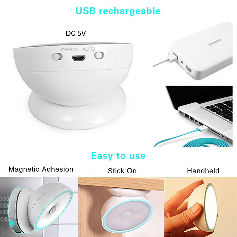 New Arrival USB Rechargeable Motion Sensor Activated Wall Light Night Light Induction Lamp For Closet Corridor Cabinet (4)