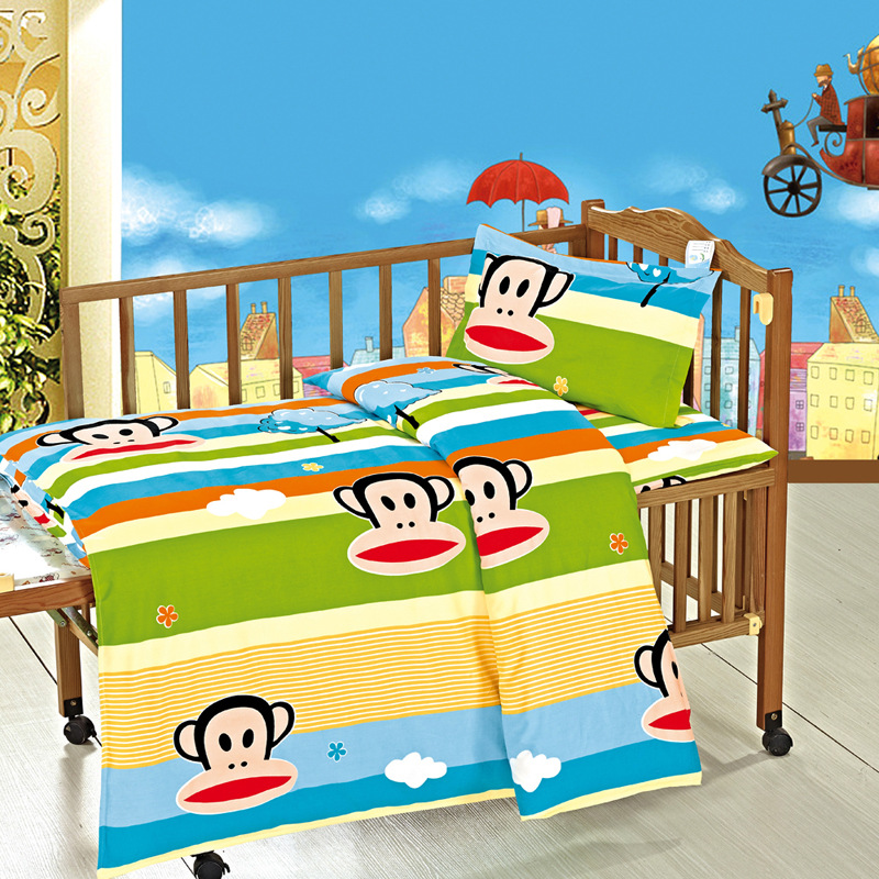 3 PCS Babies Cotton Duvet Cover+Bed Sheet+Pillowcase Students Childrens Cartoon Cot Bed Bedding Set Baby Boy Girl Bedding Sets ...