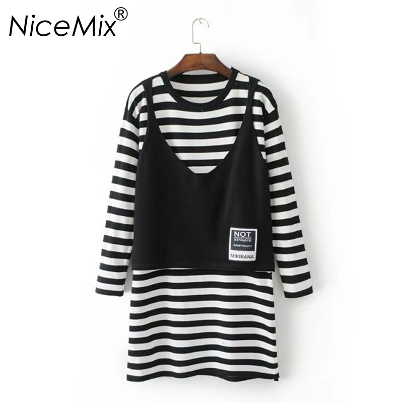 NiceMix 2018 Autumn Winter Dress Women Casual O-neck Long Sleeve Striped Knitted Dresses Vest Patch Loose Female Dress Vestidos knitted winter dress mini dresses for women tunic vestidos round neck long sleeve loose casual basic ws5018u