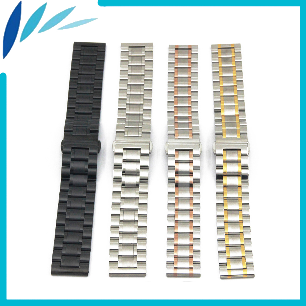 Stainless Steel Watch Band 20mm 22mm for Seiko Butterfly Clasp Strap Wrist Loop Belt Bracelet Black Rose Gold Silver + Tool stainless steel cuticle removal shovel tool silver