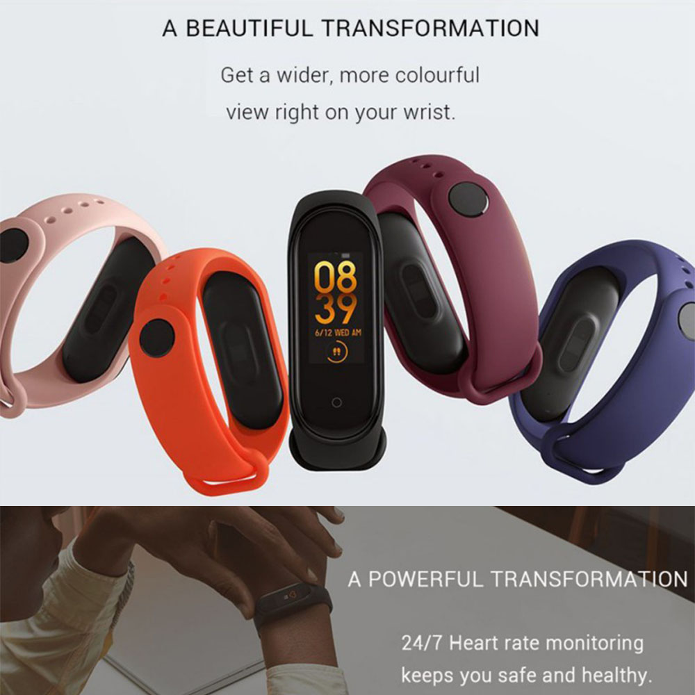 M4 Waterproof Smart Human Bracelet Wristbands Body Sensors Smartband Fitness Traker Bluetooth Bands Sport Wristband PK Mi Band 4