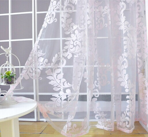 Free Shipping Pink Burnout Tulle Kitchen Curtains Sheer Curtain Panel(China  (Mainland))
