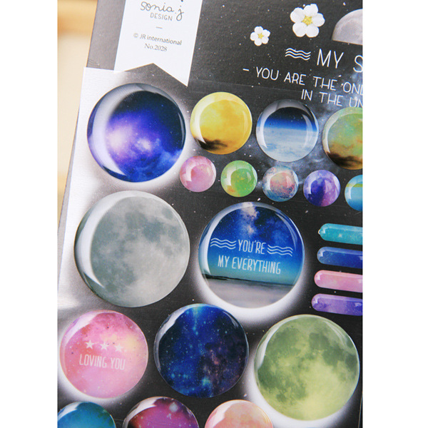 3D Cool Colorful Space Decorative Stickers Diary Sticker Scrapbook Decoration PVC Stationery DIY Stickers School Office Supply auto accessories chameleon sticker 30m 1 52m functional car pvc red copper color stickers home decorative films stickers