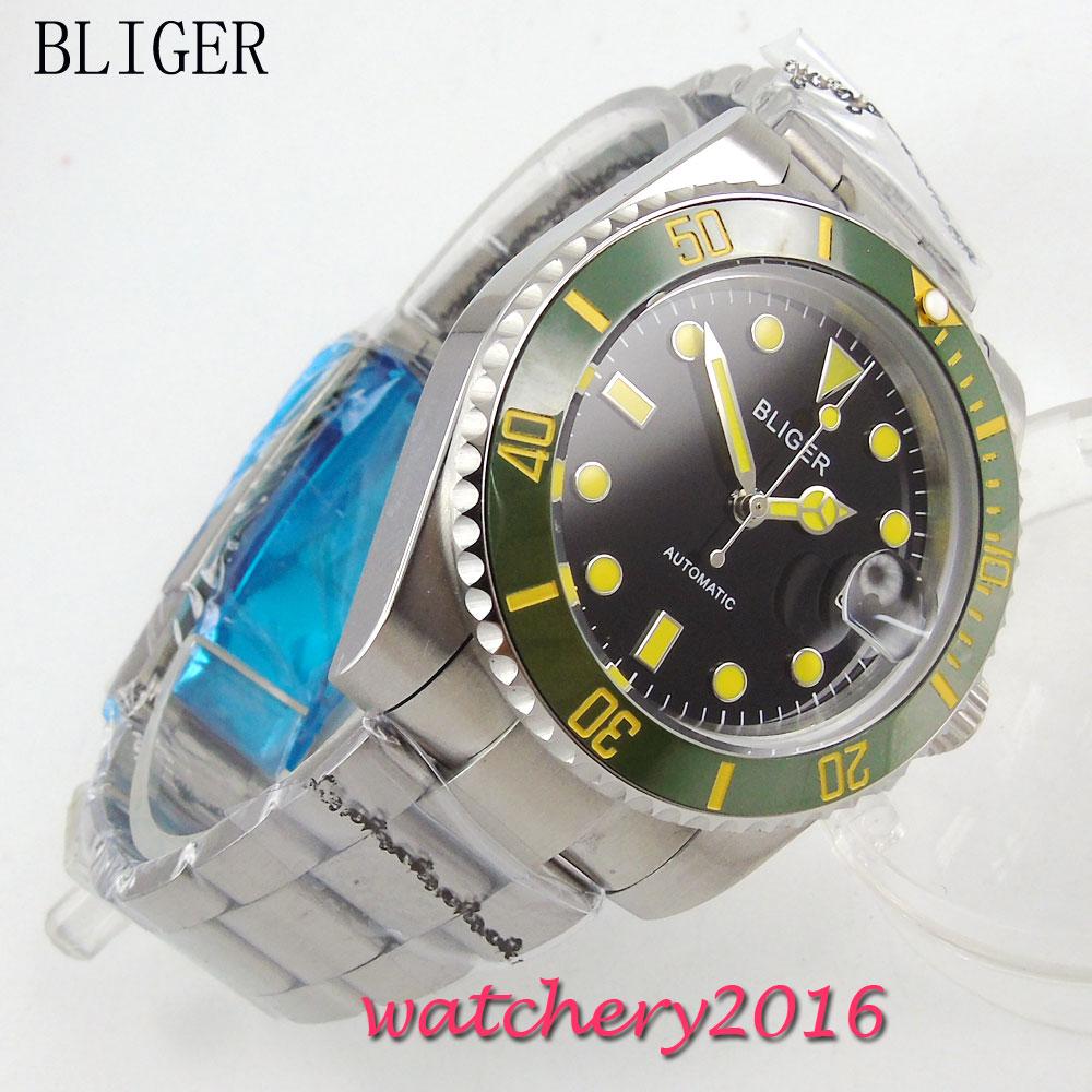 лучшая цена 40mm BLIGER Auto Watch Sapphire Crystal black dial Stainless steel Band luminous Bracelet Buckle Automatic Mechanical mens Watch