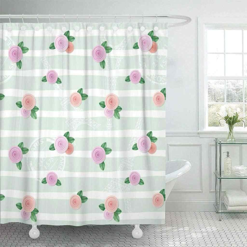ピンクブロッサムフローラルエッフェル塔タワースタンプとバラ剥奪コラージュかわいいカットアウト装飾シャワーカーテン浴室カーテン