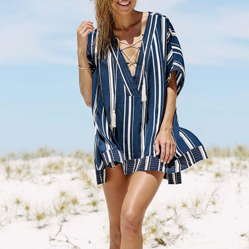 Beach Cover Up V-neck Bandage Cotton Swimsuit Cover Up Pareo Tunics For Beach Saida Praia Beach Wear Women Beach Dress
