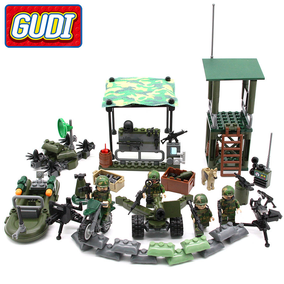 GUDI 4in1 Military series FIREWARE Blocks Soldier War Lookout dog 4set/lot Bricks Building Blocks Sets Models SWAT Toys
