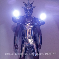 With Mask Men's Luminous Led Costume DJ Locomotive Ballroom Dance Robot Suit Stage Show Performance Mirror Man Clothes