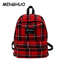 Menghuo Personality Plaid Ladies Backpack New Fashion Women Bags High Quality Large Capacity Student Bag Casual