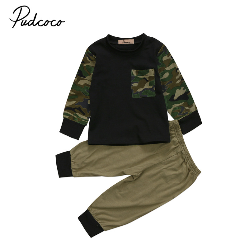 0 to 3T Hot sell Newborn Infant Baby Boys Clothes Long Sleeve Tops Long Pants Camouflage 2pcs Outfits Baby Clothing Set