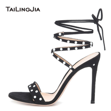 купить Stylish Open Toe High Heel Strappy Sandals with Studs Womens Stiletto Heels Ladies Summer Heeled Party Evening Dress Shoes 2019 дешево