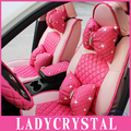 Ladycrystal Cute Rose PU Leather Car Pillows Headrest Neck Waist Pillow Crystal Rhinestone Pillows Suit For All Car