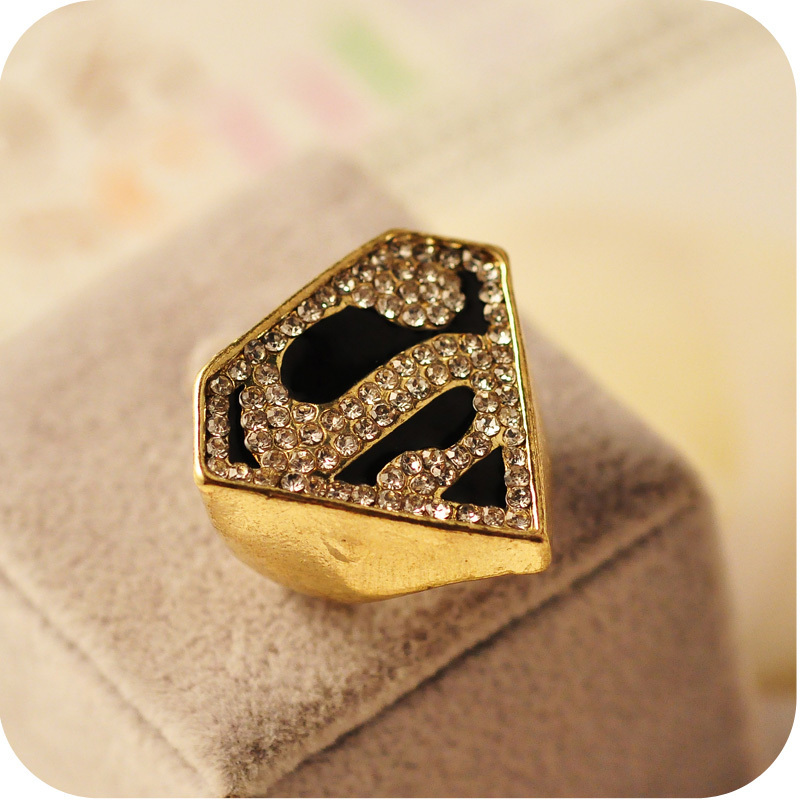 Personalized Gold Plate Geometric Crystal Inlaid S Letter Women ...