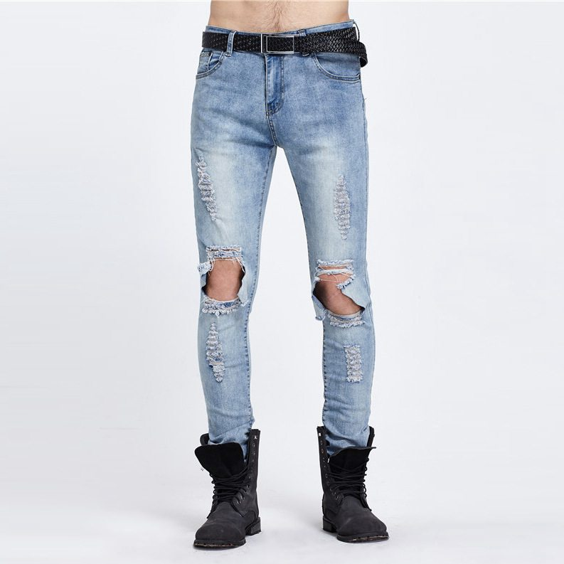 #1952 High street Hip hop jeans men Fashion Destroy Wash Distressed Skinny ripped jeans for men Moto jeans Pantalones hombre