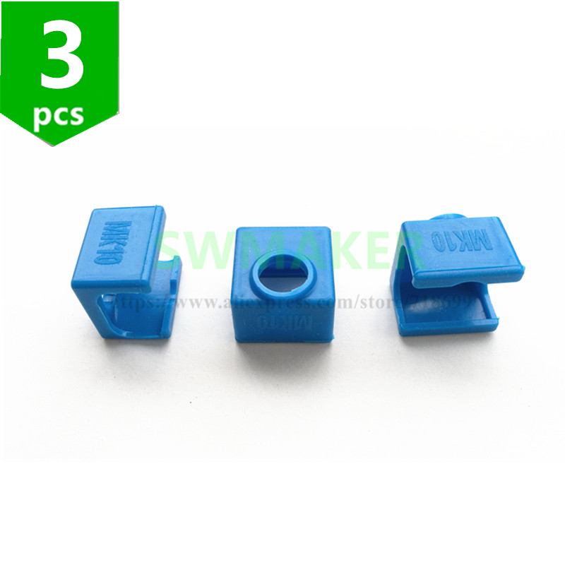 SWMAKER 3pcs MK10 Silicone Socks instead ceramic insulation for Wanhao i3 Flashforge SILICONE HEATER BLOCK COVER