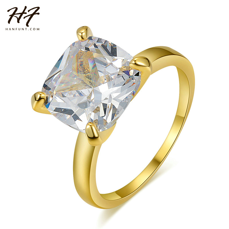 Classical Gift Big Square AAA+ CZ Cubic Zirconia Gold-Color Engagement Ring Fashion Jewely Women Rings Wholesale R471