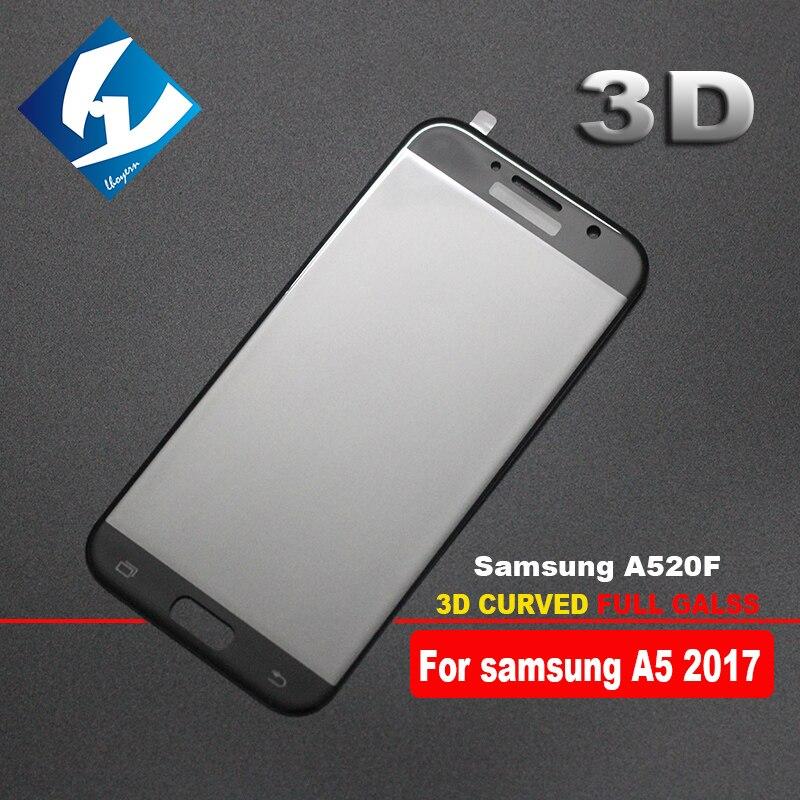 imágenes para 10 unids/lote 3d curva para samsung a5 2017 de cobertura total 9 h protector de la pantalla de vidrio templado película protectora para a520f a520 duos