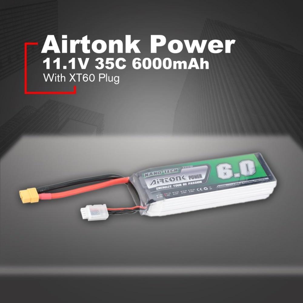 Airtonk puissance 11.1 V 6000 mAh 35C 3 s 1 P Lipo batterie XT60 prise Rechargeable pour RC course Drone quadrirotor hélicoptère voiture bateau