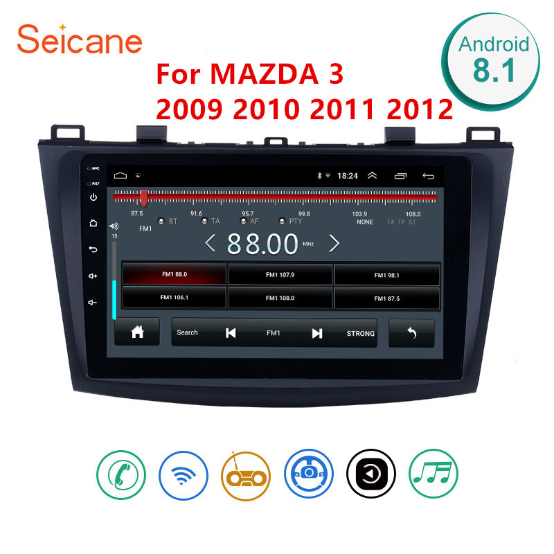 Seicane Android 8.1 Car <font><b>Radio</b></font> GPS Multimedia Unit Player 2Din For <font><b>2009</b></font> 2010 2011 2012 <font><b>MAZDA</b></font> <font><b>3</b></font> 9 Inch Wifi Bluetooth <font><b>Radio</b></font> GPS image