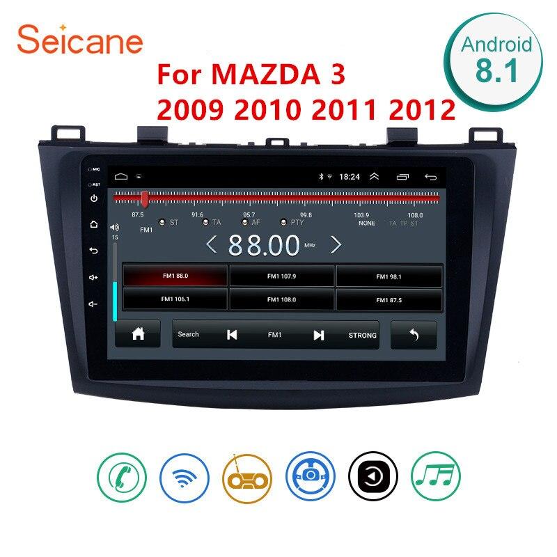 Unidade Multimídia Player 2Din Seicane Android 8.1 GPS Do Rádio de Carro Para 2009 2010 2011 2012 MAZDA 3 9 Polegada Wi-fi rádio Bluetooth GPS