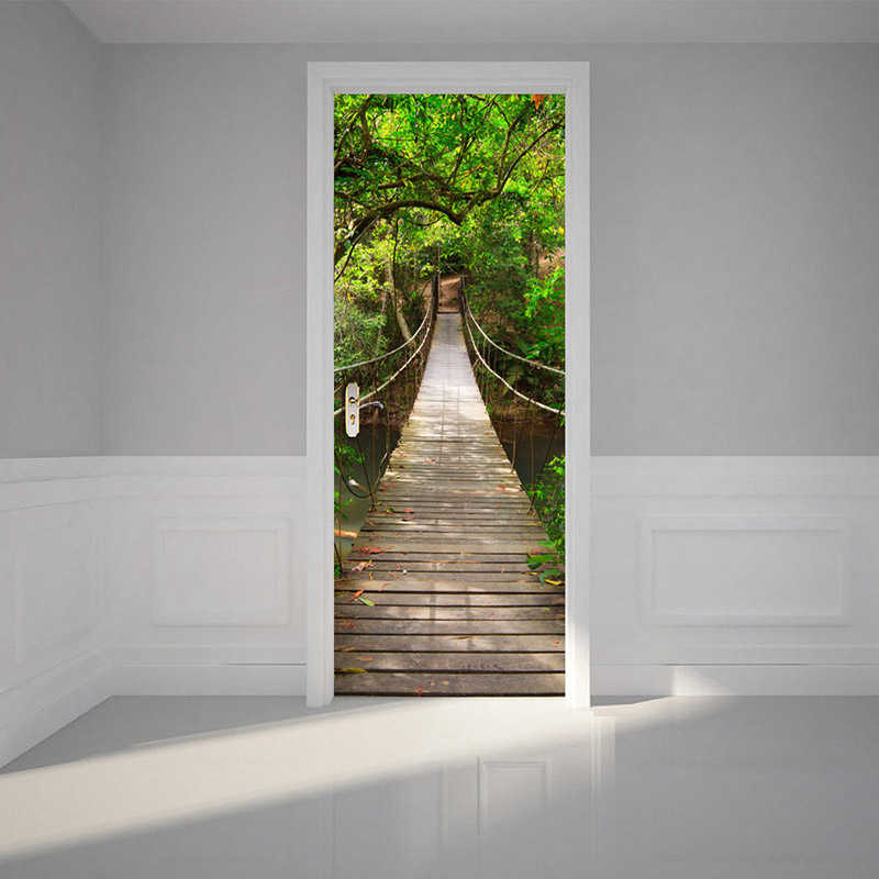Autocollant Mural de porte 3D | Stickers de porte, papier Mural, pour chambre à coucher, pont suspendu en bois, grands Stickers de porte muraux, décor de maison, papier peint, affiche de Photo