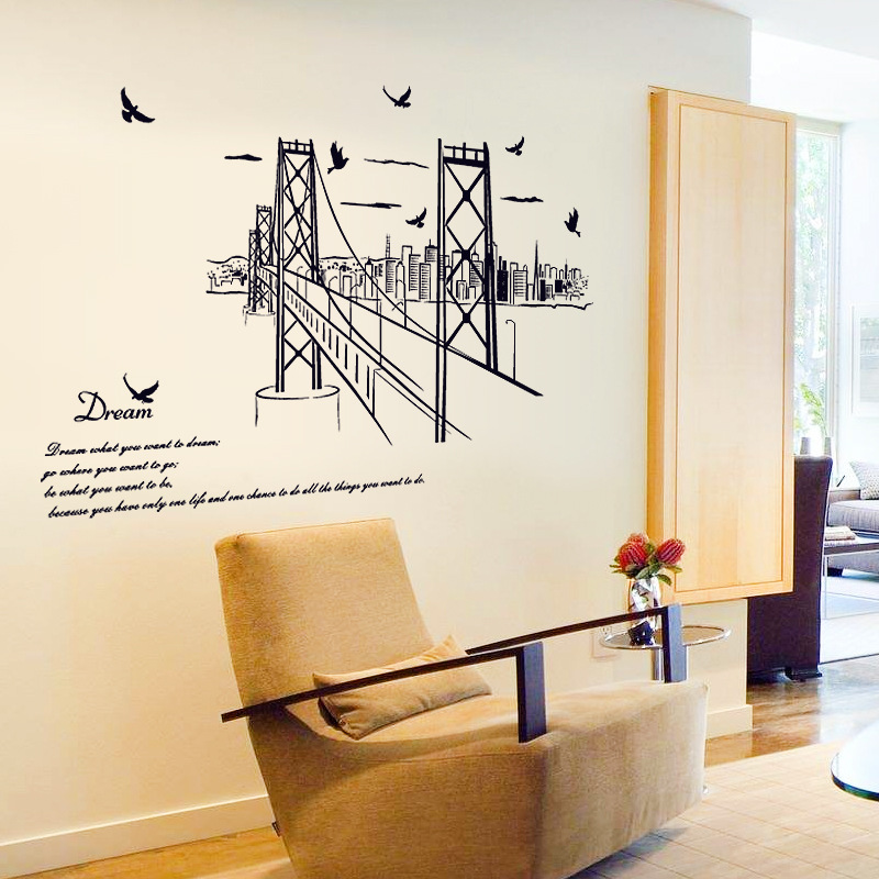 Creative San Francisco Bridge PVC Wall Stickers Vintage Poster ...