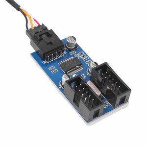 Image 5 - Adaptador de Cable divisor de extensión para PC y ordenador conector de placa base USB de 9 pines macho 1 a 2 hembra, línea de extensión DIY de 30CM