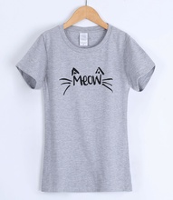 MEOW Cat Cartoon Printed T-shirts