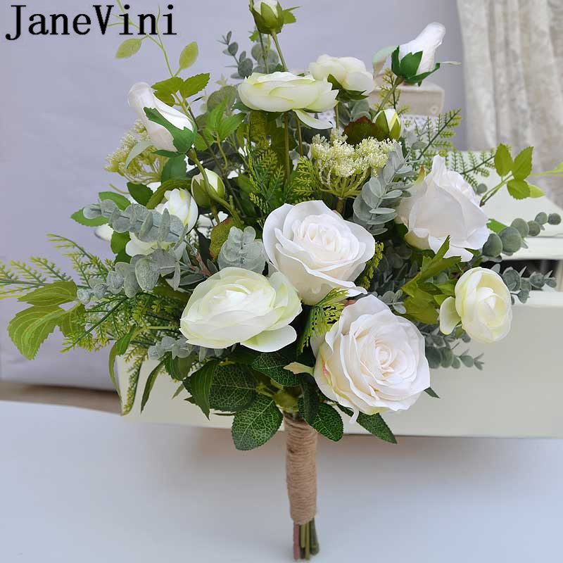 JaneVini Artificial White Flower Wedding Bouquet Bridesmaid Brooch for a Bride Silk Green Leaves Bridal Bouquet Flowers Bukiet