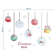 Merry Christmas Colorful Ball wall stickers Door Shop window Mural Decal Removable Fesitive Decoration цена