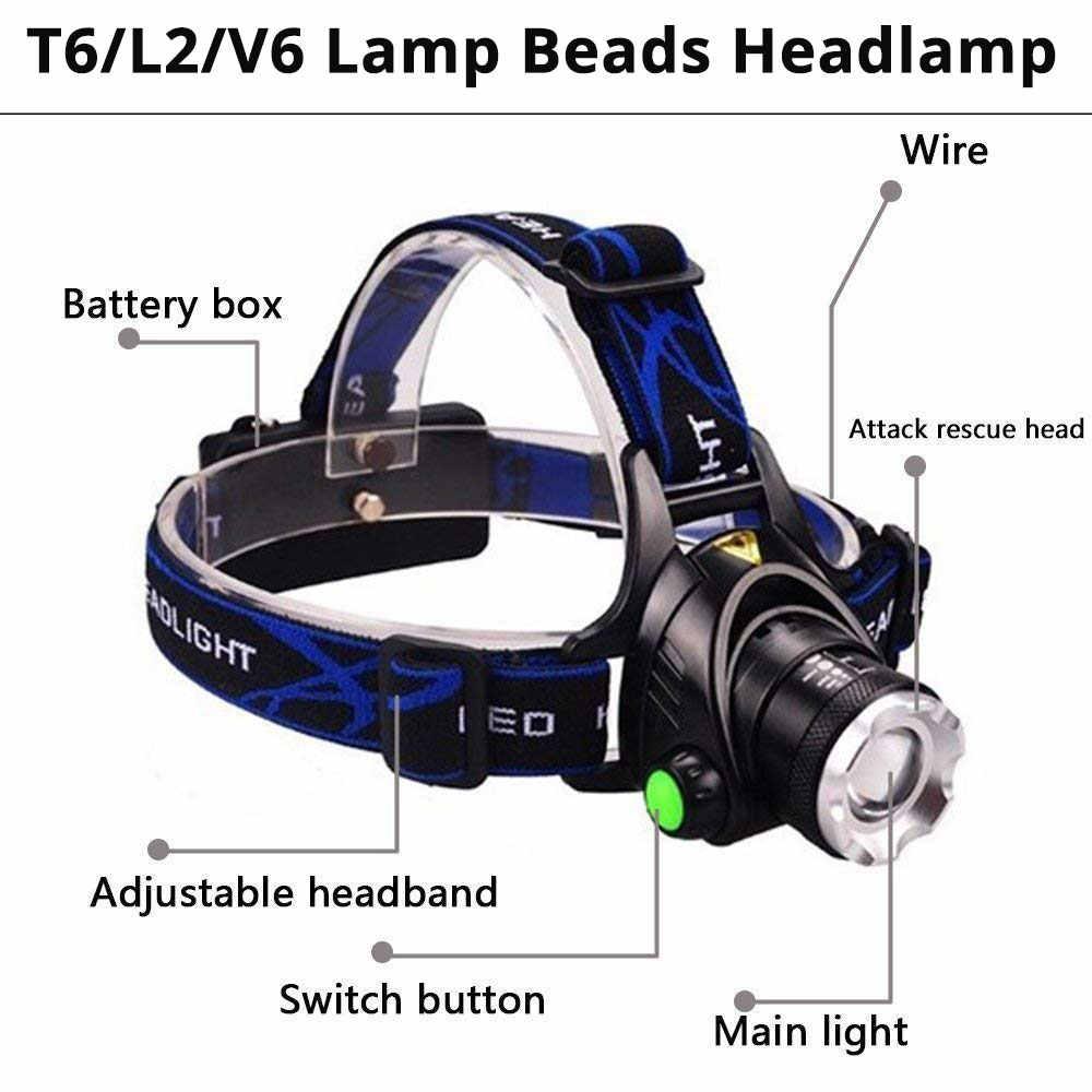 Linterna frontal LED XML-V6/L2/T6 Zoom linterna frontal Led linterna principal Batería 2*18650 para Camping Luz de bicicleta obtener regalo