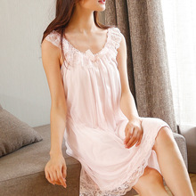 Гостиная сна Для женщин пижамы хлопок Ночные рубашки для девочек сексуальные Крытый Костюмы Платье домашнее белое розовая сорочка с бантом милый жгут ночная рубашка