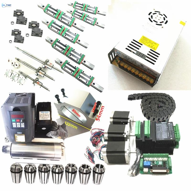 3 KITS linear rail HGR15 SFU1605 ball screw L300 800 1200mm cnc kit 1 5KW ER11
