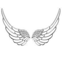 Angel Wing Earrings 925 Silver Women Jewelry 100% S925 Sterling Silver boucle d'oreille Cubic Zircon Stud Earring недорого