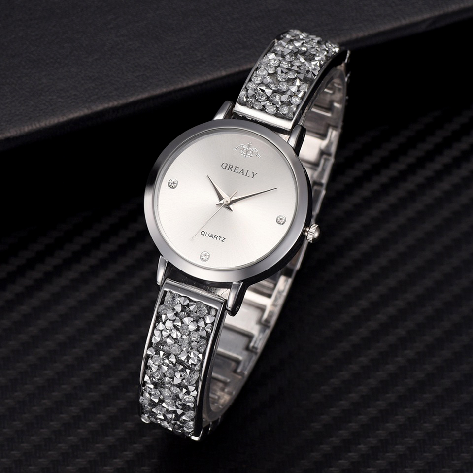 Luxury Brand Full Rhinestone Silver Women Watches Casual Ladies Quartz Stainless Steel Band Bracelet Watch Analog Wrist Watch