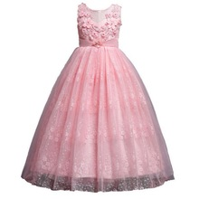 цены 4-14Y New Pink,White Big Girls Kids Flower Princess Wedding Prom Party Dresses With Sleeveless Tulle Lace Tutu Dress Vestidos