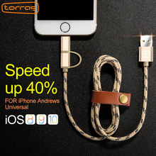Torras Micro USB Cable For Samsung Xiaomi Huawei 2 in 1 Phone USB Cable For iPhone 8 7 X 6 6s Plus 5 5s SE Fast Charger Cable