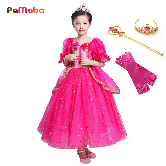 89267639 PaMaBa Aurora Dresses for Girls Sequined Lace Trim Filles Princess Aurora Cosplay  Costume Sleeping Beauty Halloween Outfit Gown