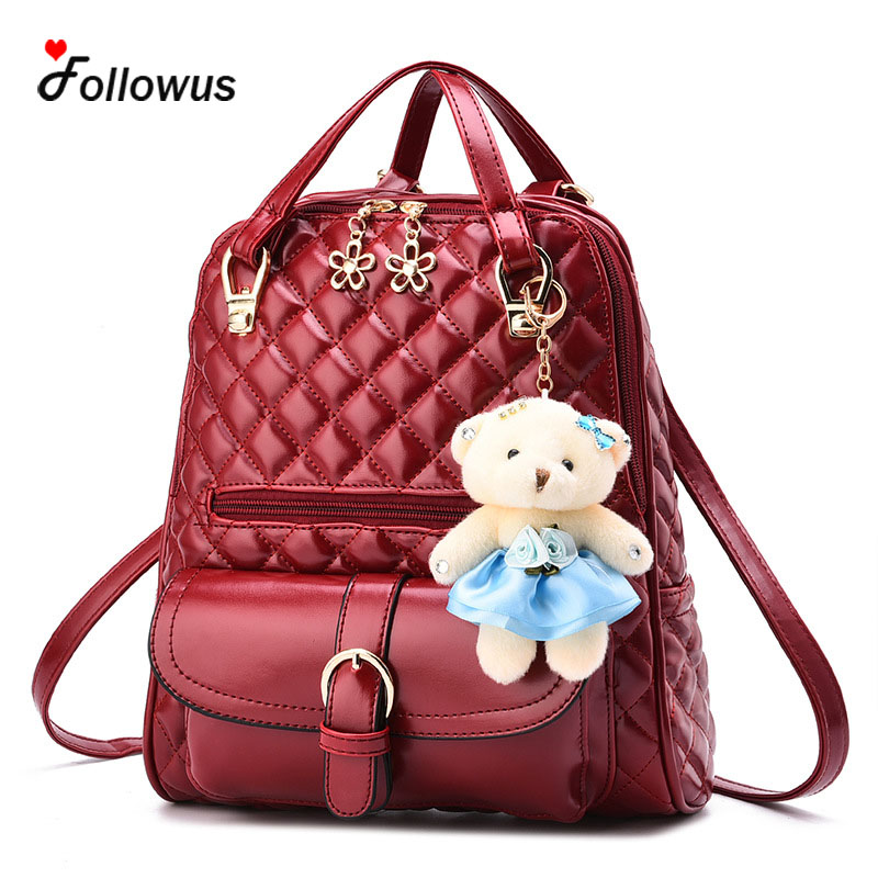 Women Backpack Quilted Thread Backpack 2017 New Fashion Girls Korean Style Multifunctional Bear Pendant School Bags