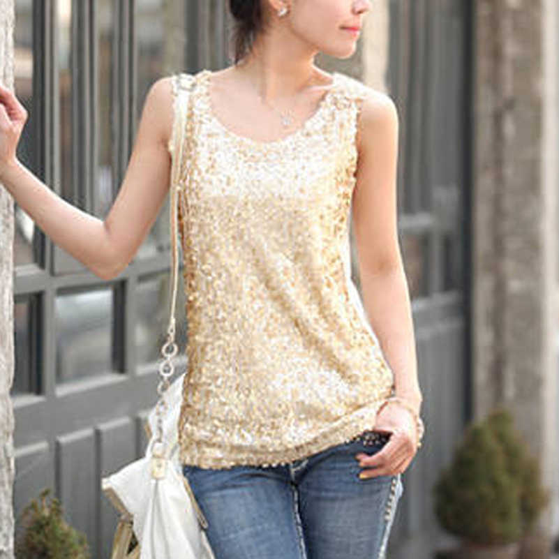 681a6000282 New Women Tops Summer Plus Size Thin Slim Gold Sequined Blingbling Vest  Bottoming Shirt Ladies Sleeveless